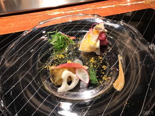 横浜うかい亭の紅葉鯛と秋野菜のマリネ